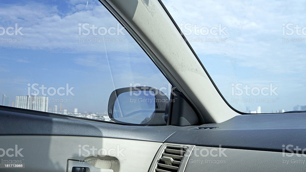 View from inside of car with blue sky background royalty-free stock photo