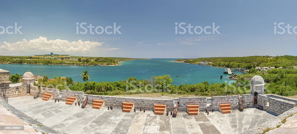 View from Jagua fortress to Carribean sea strait stock photo