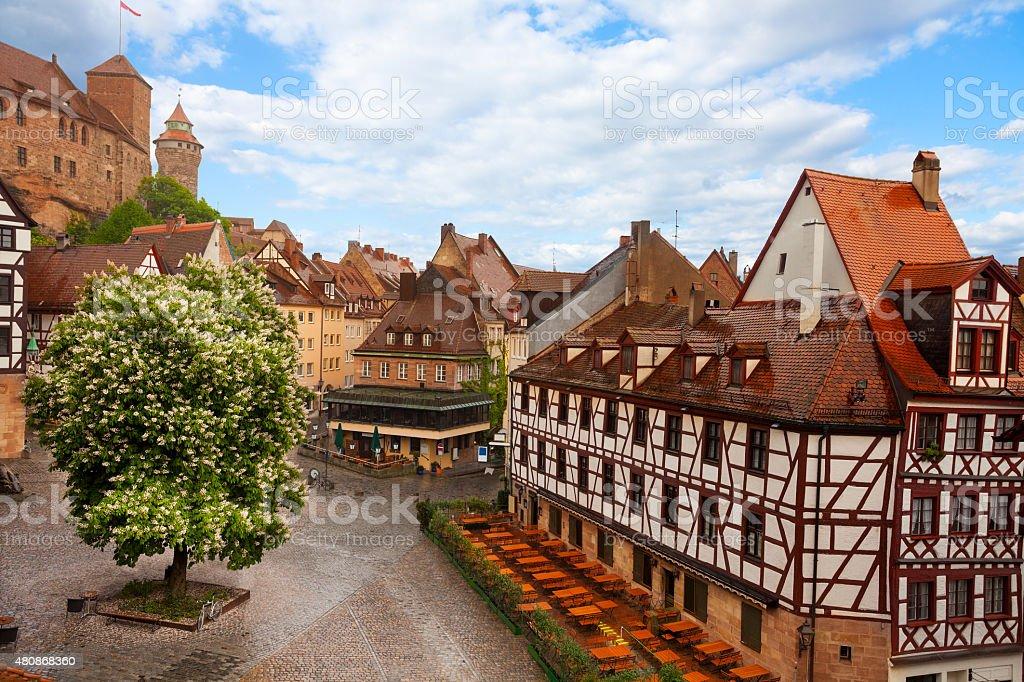 View from Kaiserburg of Fachwerk houses, Nuremberg stock photo