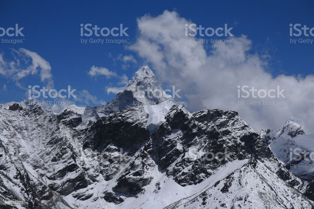 View from Kala Patthar towards mount Ama Dablam stock photo