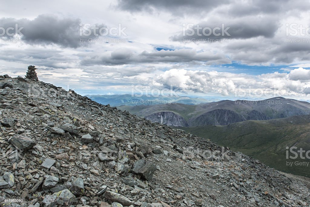 View from Karaturek mountain pass in cloudy weather stock photo