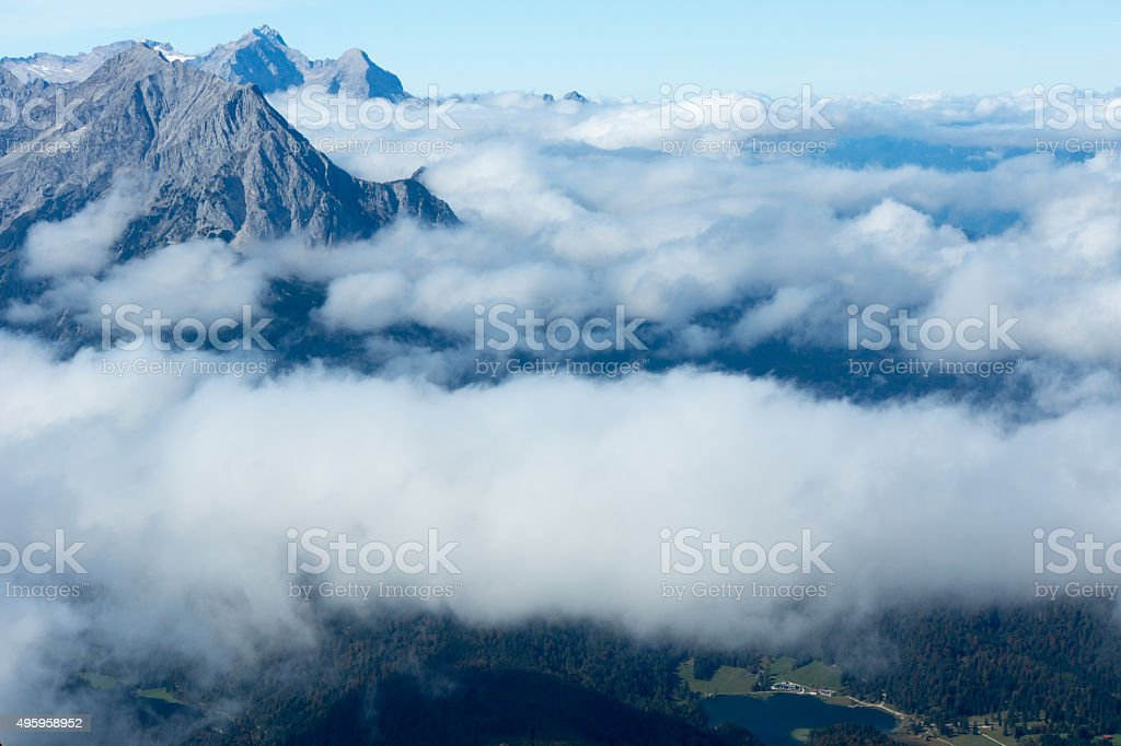 View from Karwendel on Mittenwald stock photo