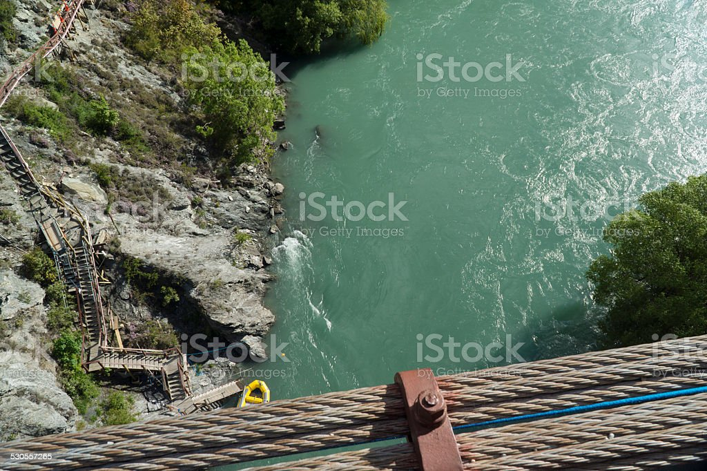 View from Kawarau bridge to river. New Zealand stock photo