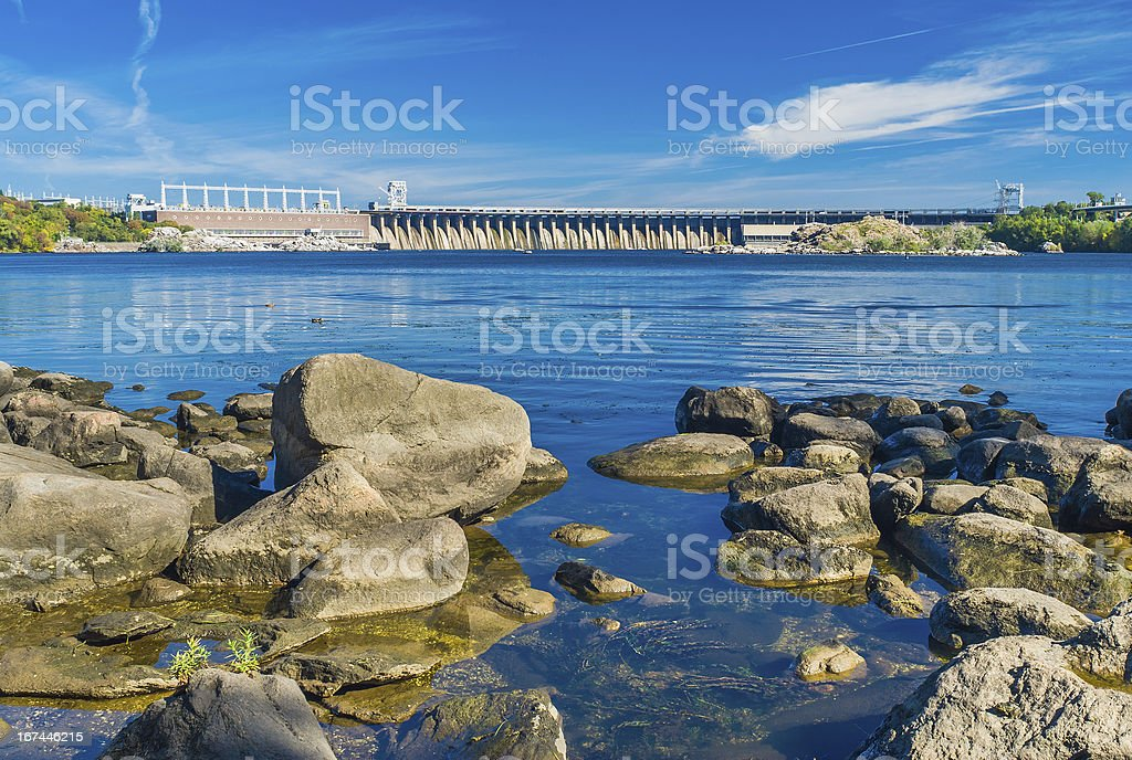 View from Khortytsia island to Hydroelectric Station on Dneper River stock photo