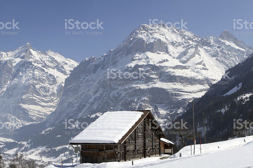 View from Kleine Scheidegg plateau towards the Eiger, Alps, Switzerland royalty-free stock photo