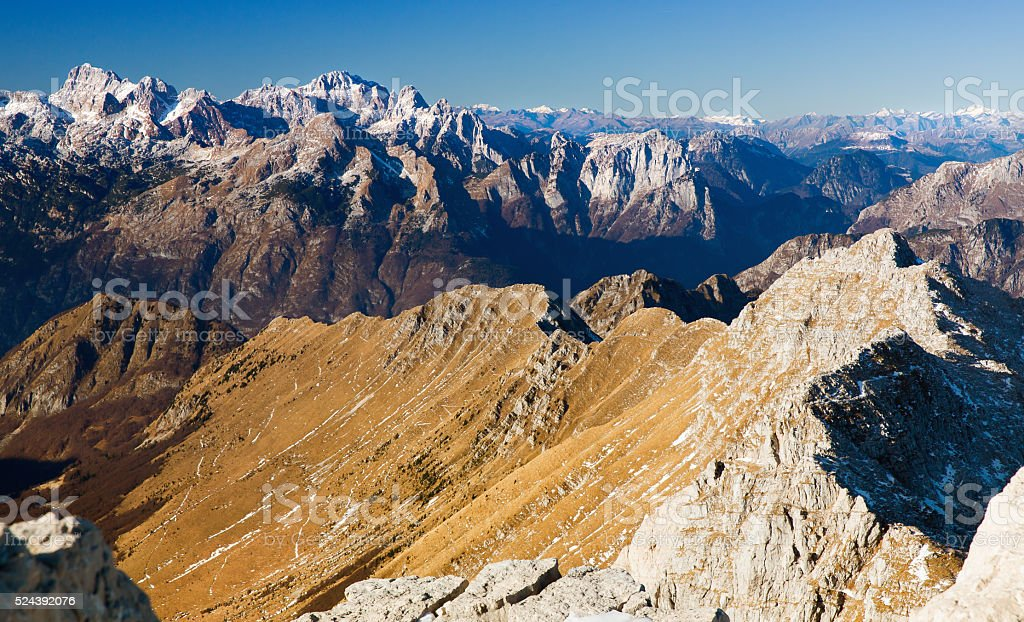 View from Krn, Monte nero 2244m, Slovenia stock photo
