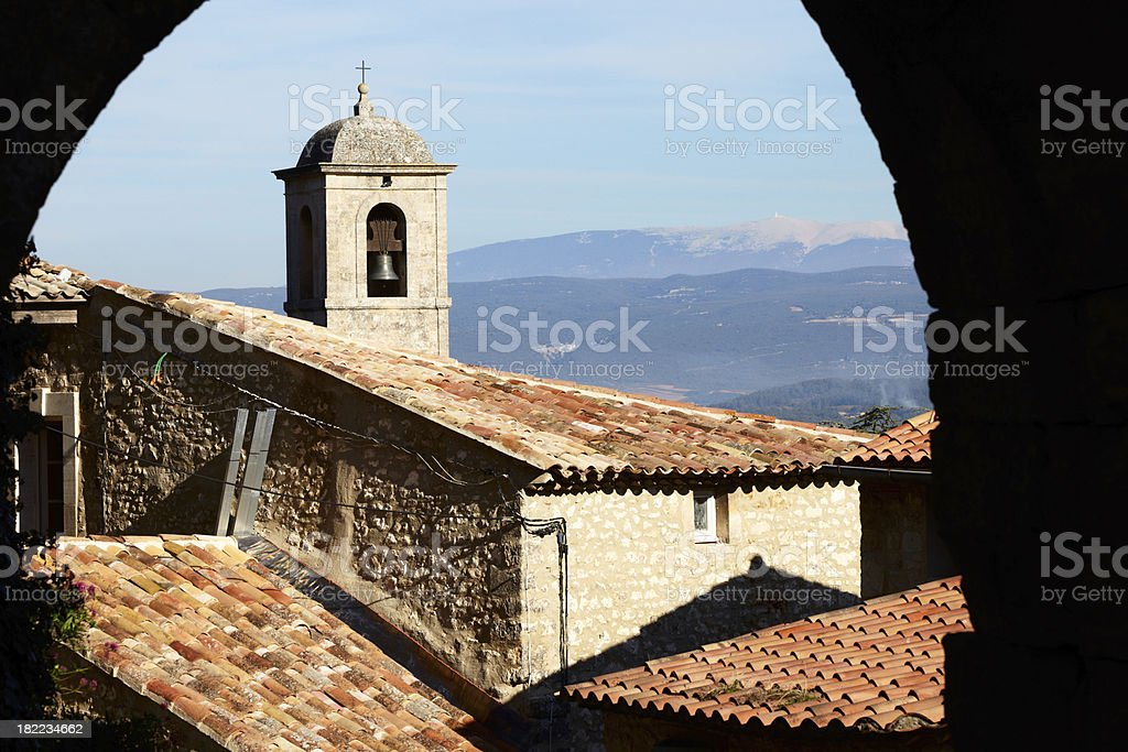 View from Lacoste to the Mont Ventoux stock photo