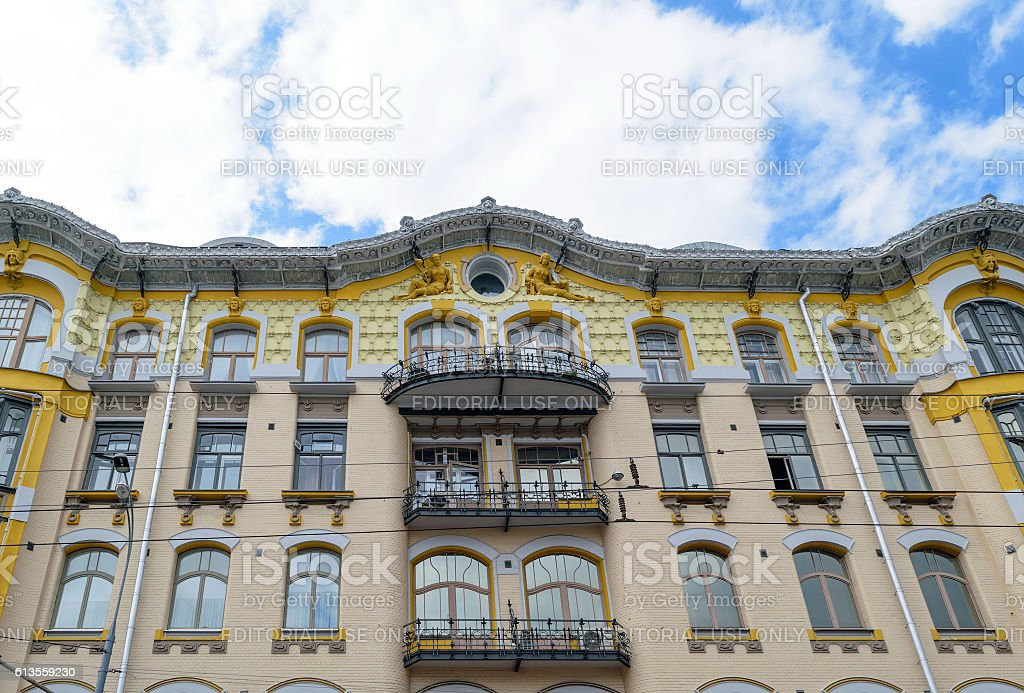View from land at old house, decorated the pediment sculptures stock photo