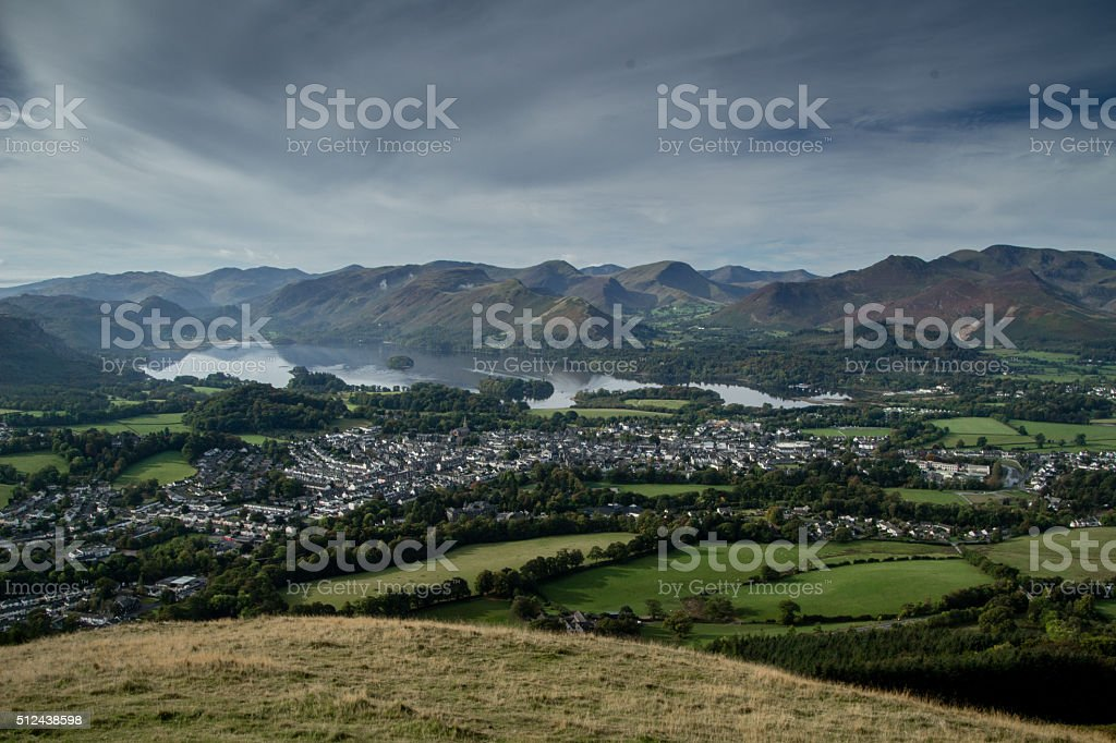 View from Latrigg over Keswick, Lake District stock photo
