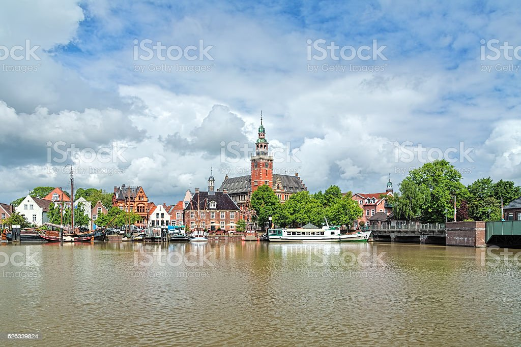 View from Leda river on City Hall in Leer, Germany stock photo