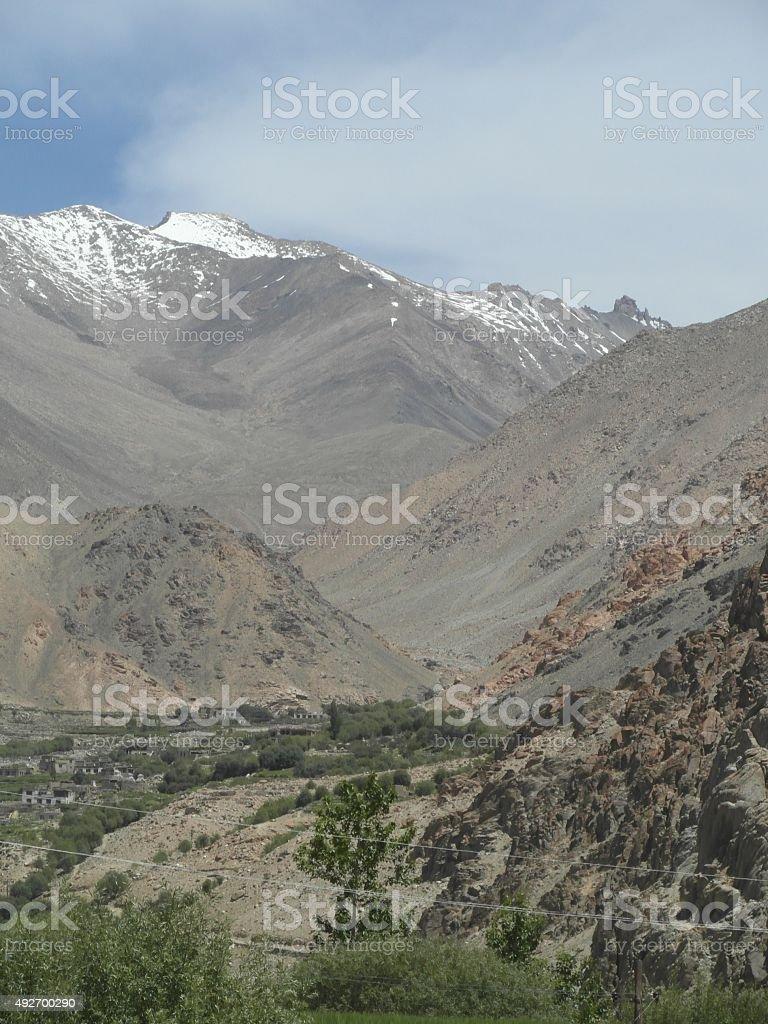 View from Likir Gonpa, Ladakh stock photo