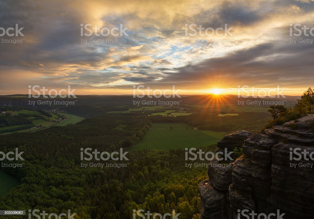 View from Lilienststein mountain. stock photo
