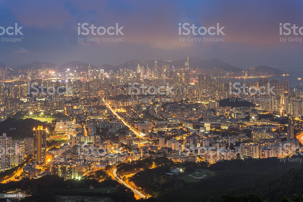 View from lion rock , Hong Kong . stock photo
