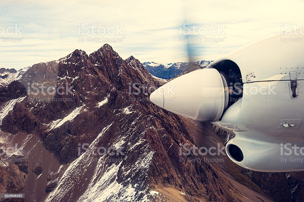 View from little airplane,Otago, New Zealand stock photo