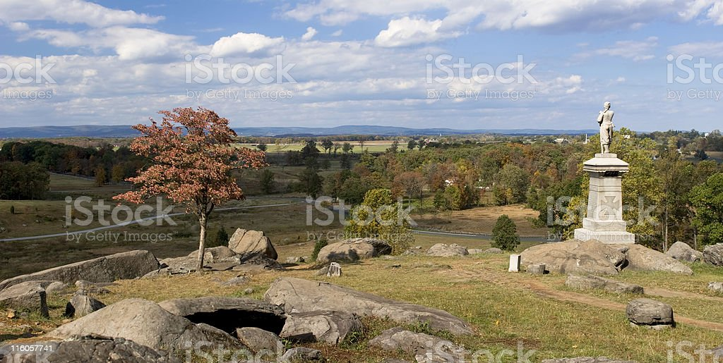View from Little Round Top at Gettysburg royalty-free stock photo