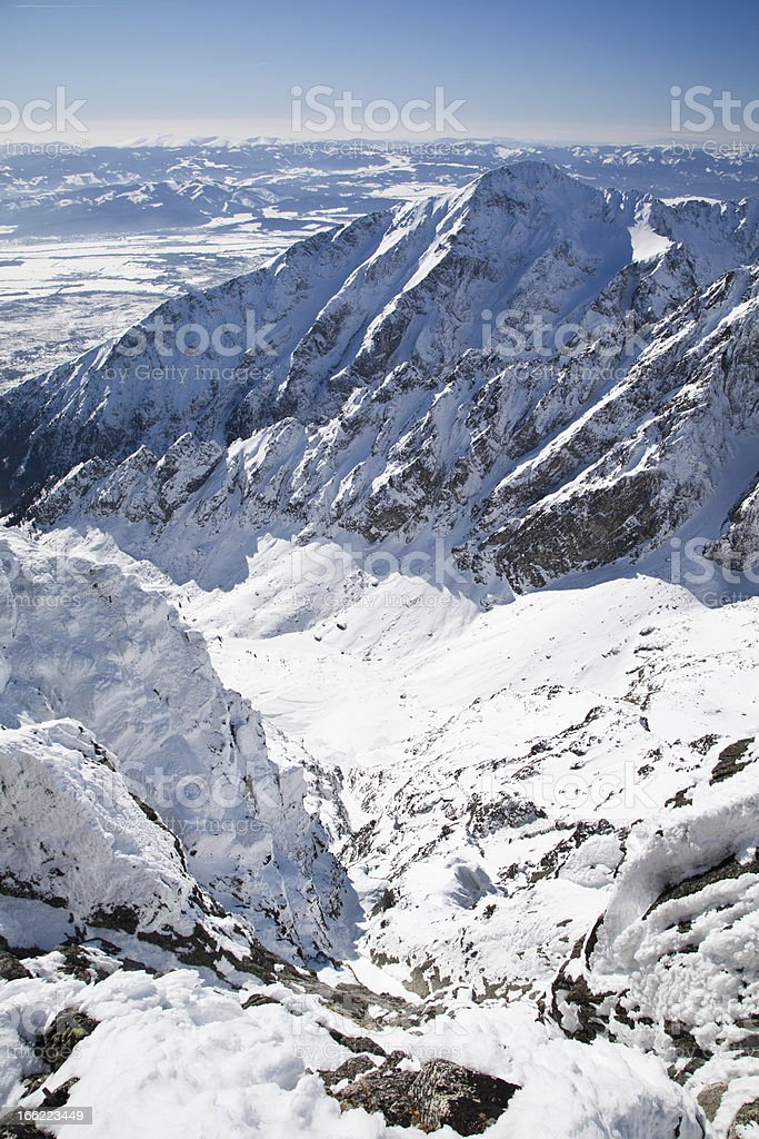 View from Lomnicky stit - peak in High Tatras royalty-free stock photo