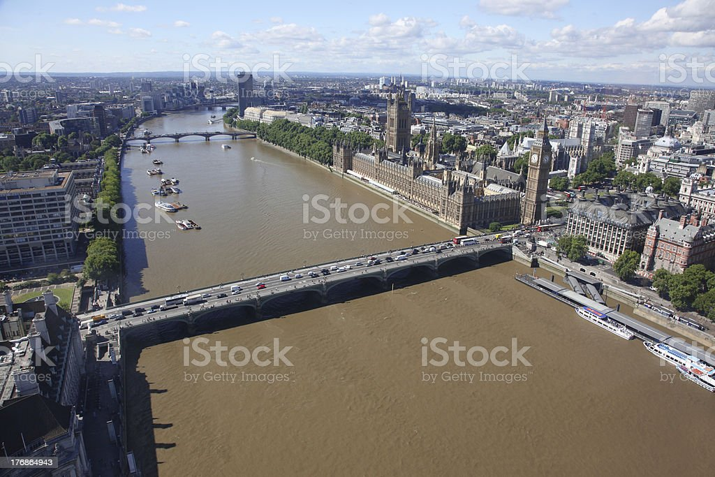 View from London Eye above city, United Kingdom royalty-free stock photo