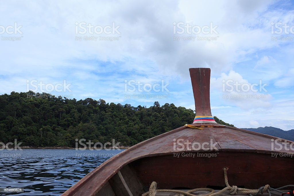 view from long tail boat in a sea, desination way stock photo