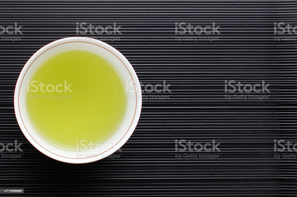 View from looking down into a cup of green tea in a cup stock photo