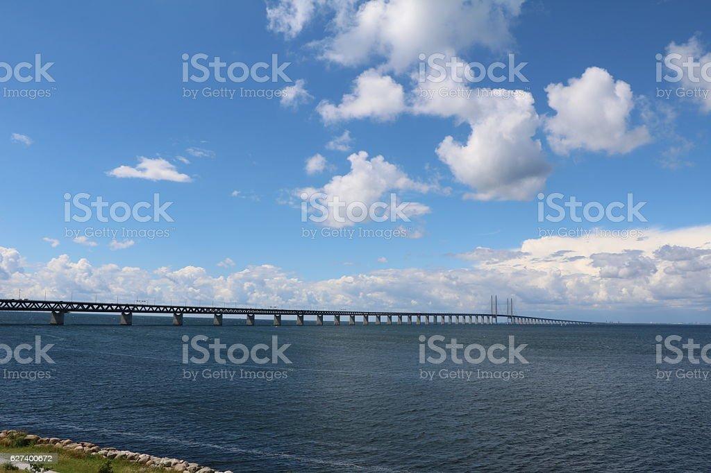 View from Malmö to Öresund Bridge, Sweden stock photo