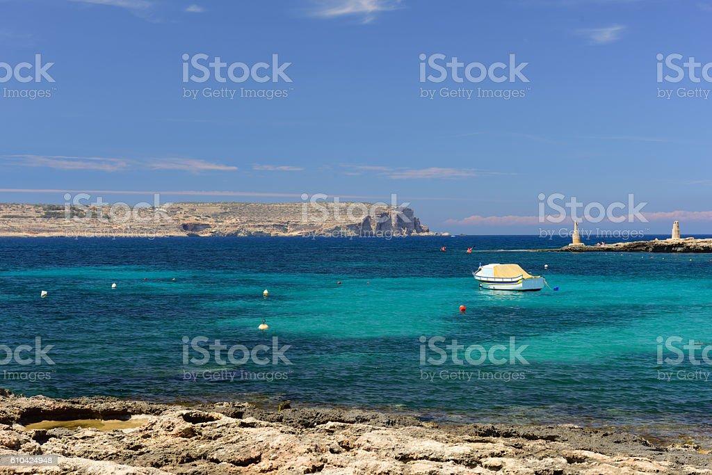 Blick von Malta nach Comino stock photo