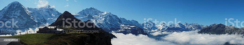 View from Mannlichen at the Bernese Alps (Berner Oberland, Switzerland) stock photo