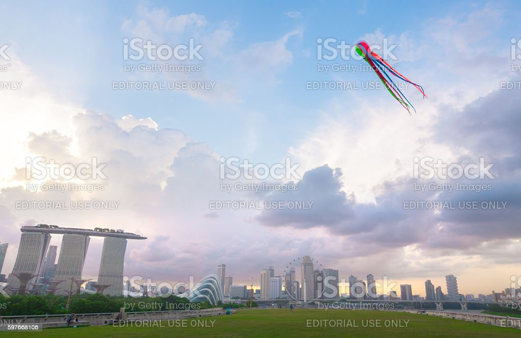 view from marina barrage  can see all landmark of singapore stock photo