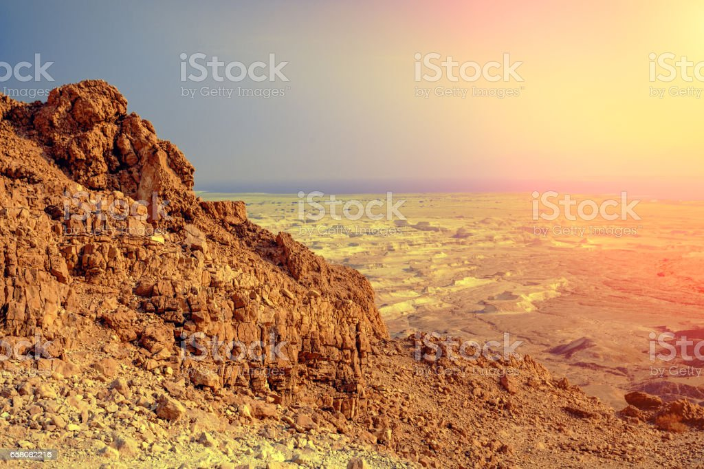 View from Masada, Israel. Mountain landscape at sunrise stock photo