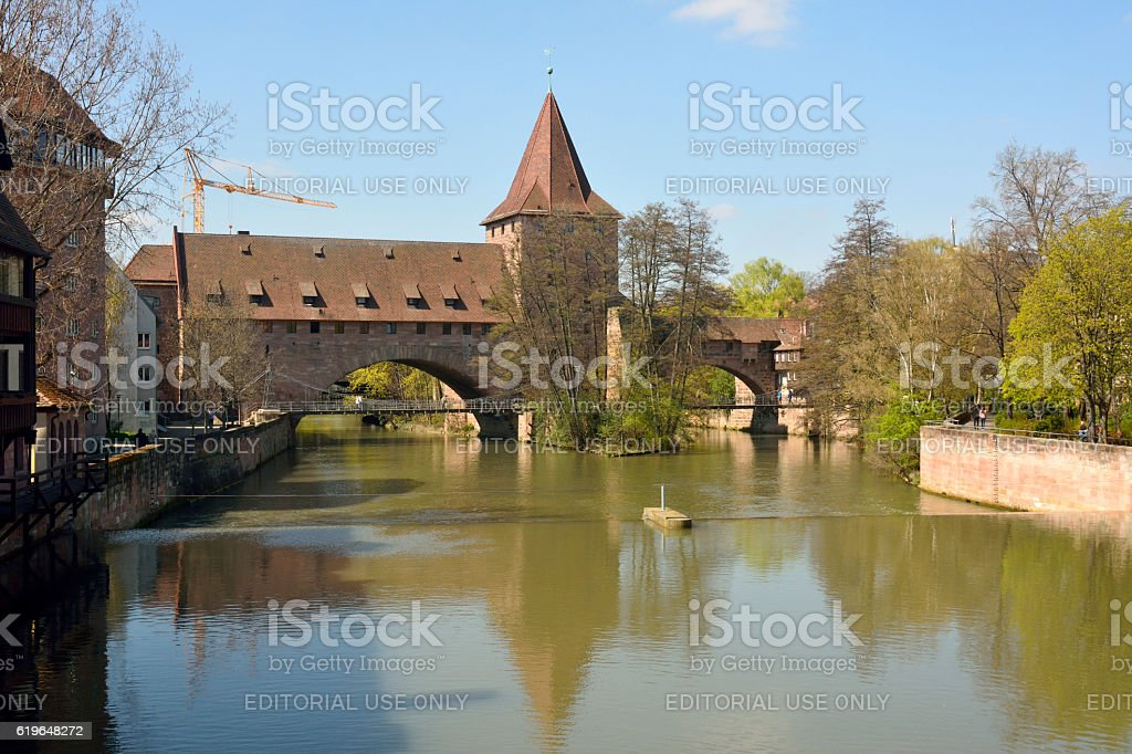 View from Maxbrucke bridge in Nuremberg. stock photo