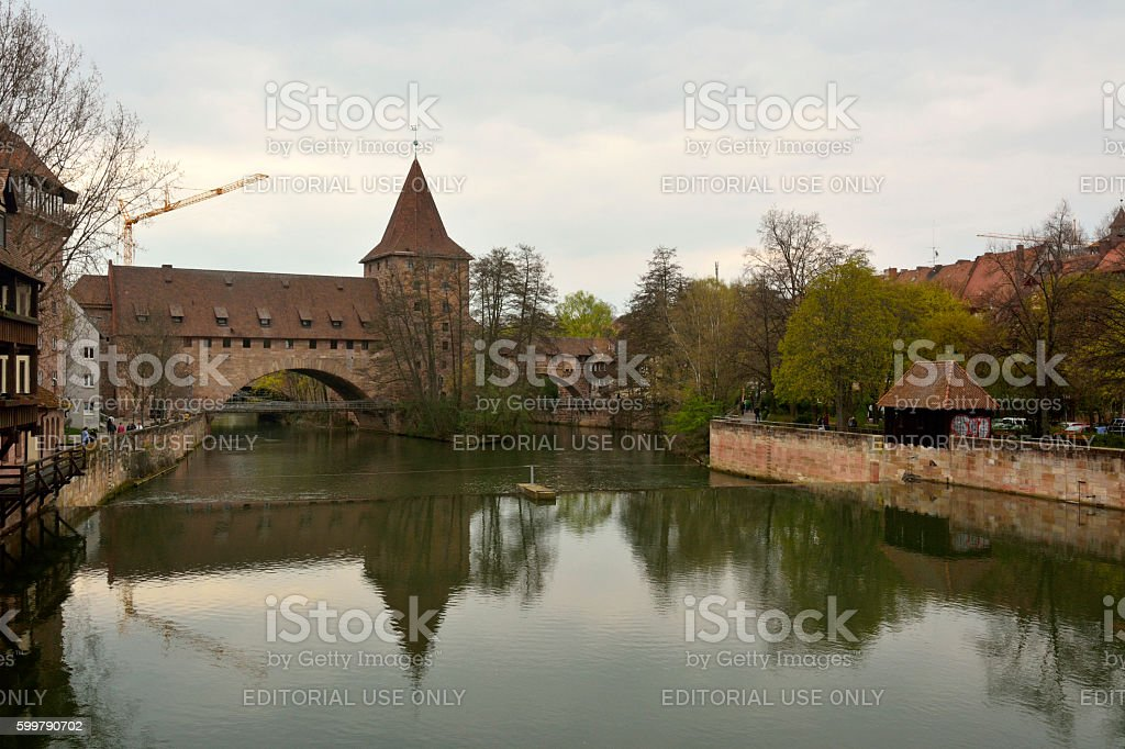 View from Maxbrucke bridge towards Kettensteg bridge in Nuremberg stock photo