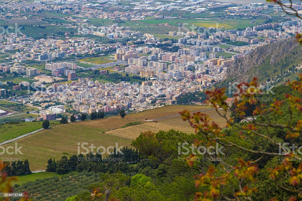 View from medieval town Erice on top of Mount Erice stock photo