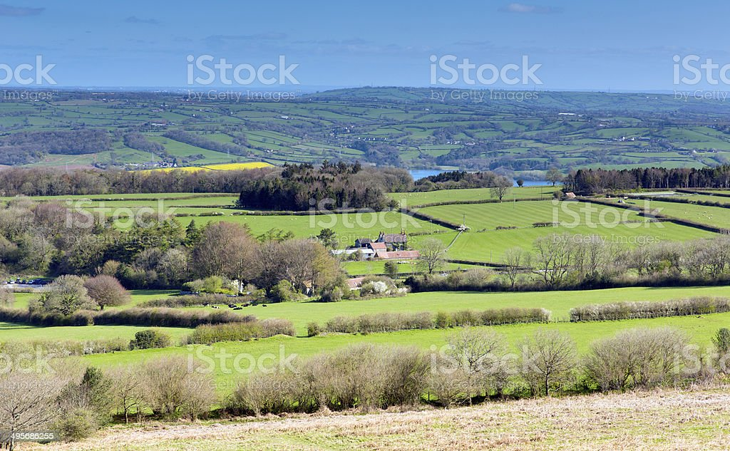 View from Mendip Hills Somerset to Blagdon and Chew Valley stock photo