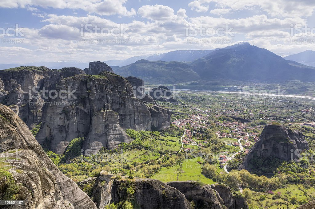 View from Meteora, Thessaly, Greece stock photo