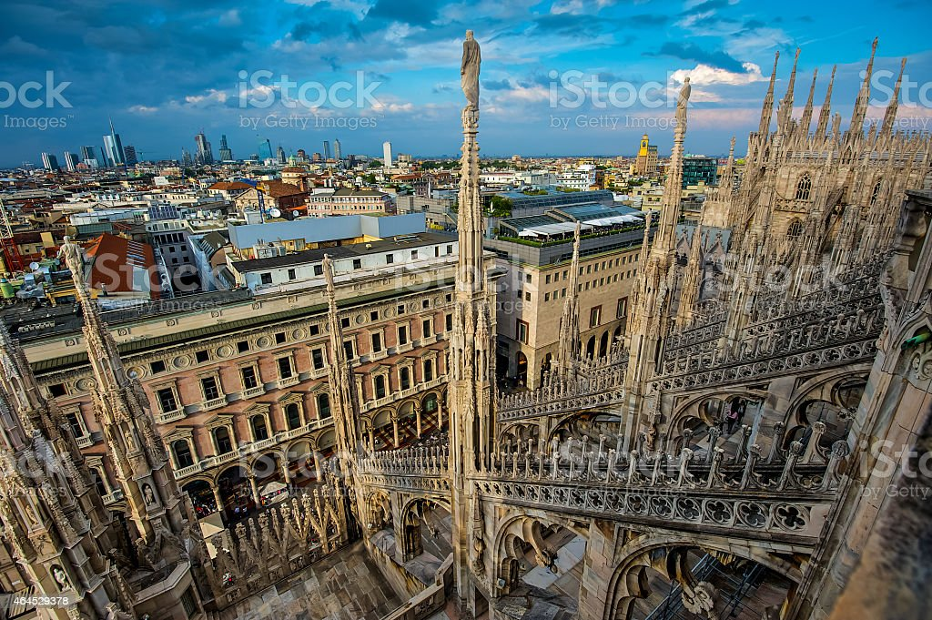 View from Milan Cathedral, Italy stock photo
