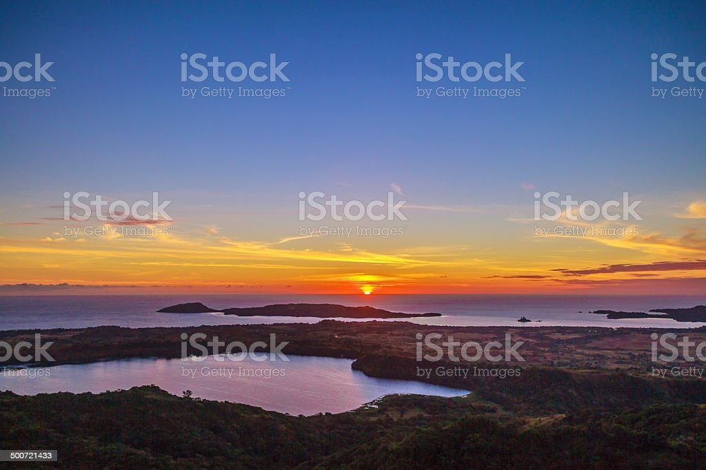 View from Mont Passot in Nosy Be island at sunset stock photo
