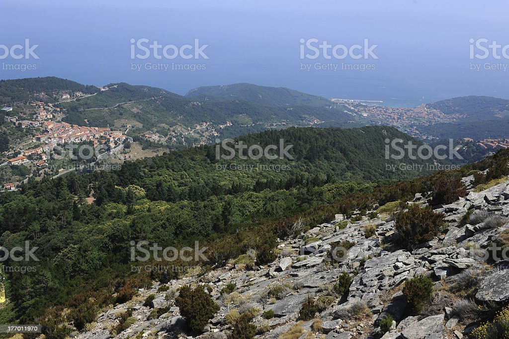 View from monte Capanne at the coast of Elba island royalty-free stock photo