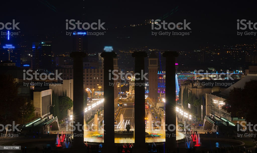 View from Montjuic over the night in Barcelona stock photo