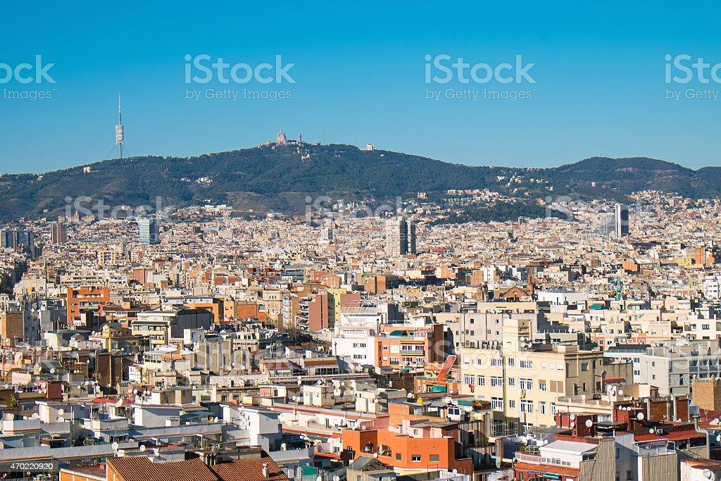View from Montjuic to Tibidabo stock photo