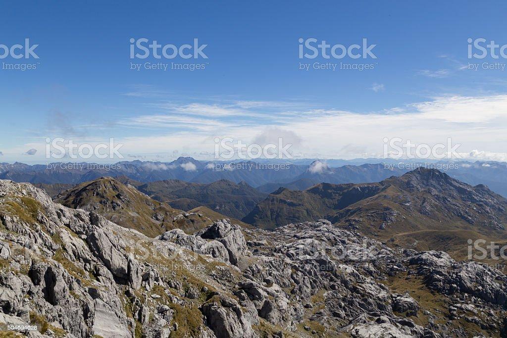 View from Mount Owen in Kahurangi National Park stock photo