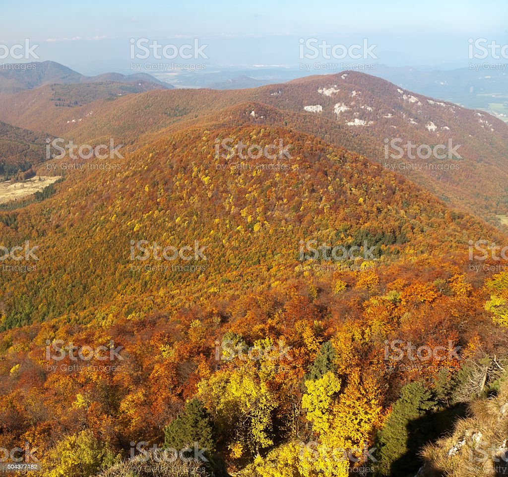 View from mount Strazov, Strazovske vrchy, Slovakia stock photo