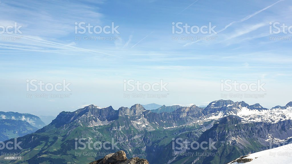 View from mount Titlis over the Swiss alps stock photo