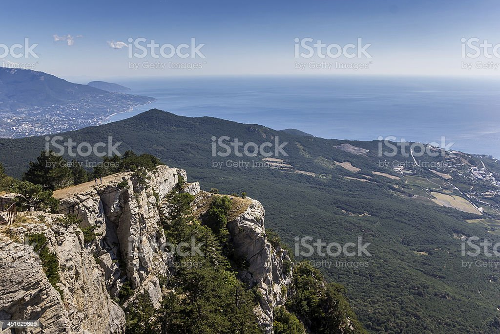 View from mountain Ai Petri near Yalta stock photo