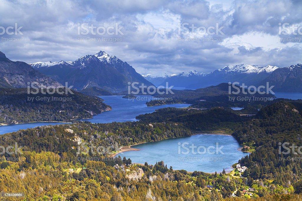 View from mountain Campanario, Bariloche, Argentina royalty-free stock photo
