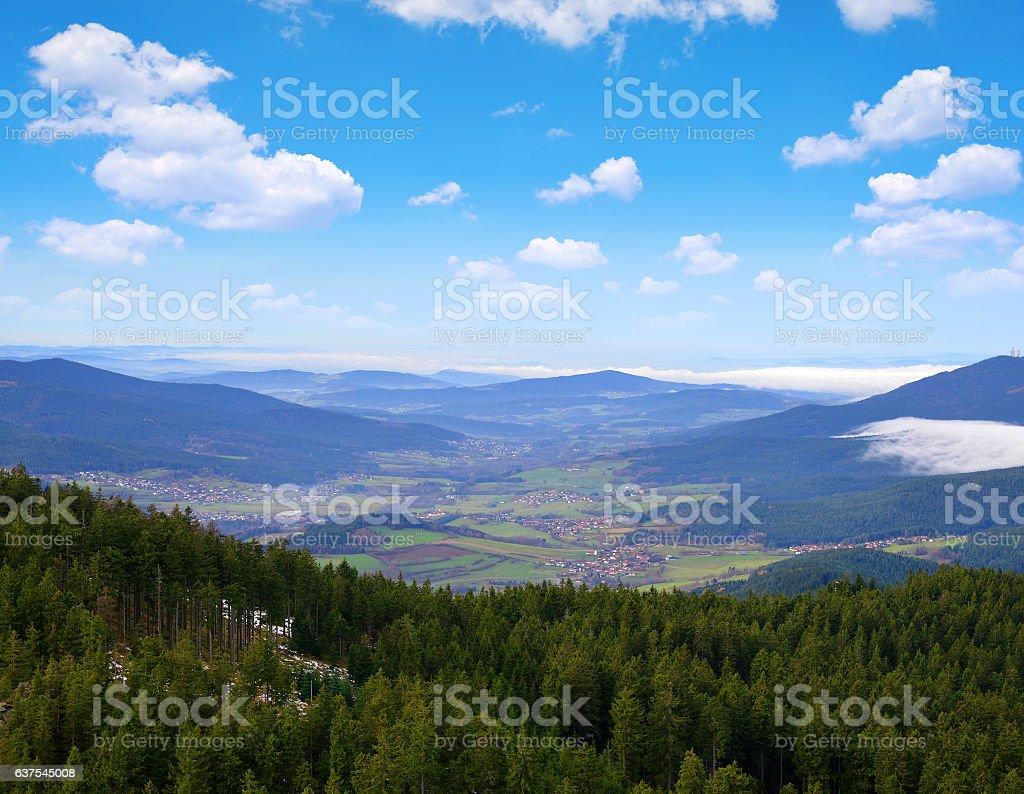 View from mountain Grosser Osser in National park Bavarian forest stock photo