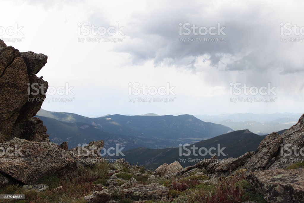 View from mountain summit stock photo