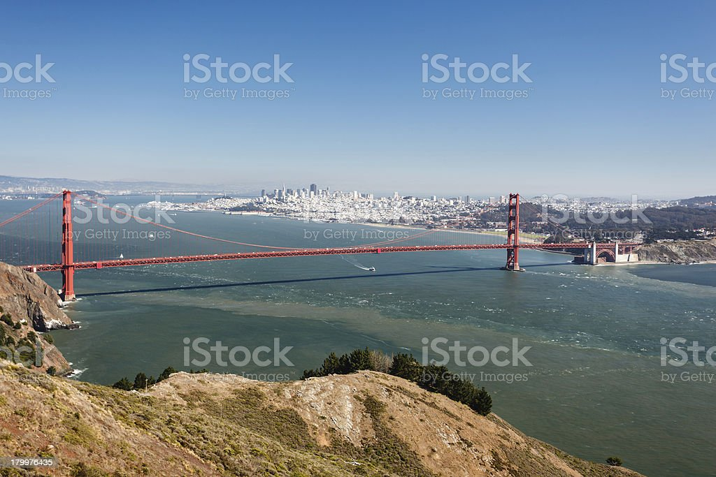 View from mountain top across  San Francisco Bay royalty-free stock photo