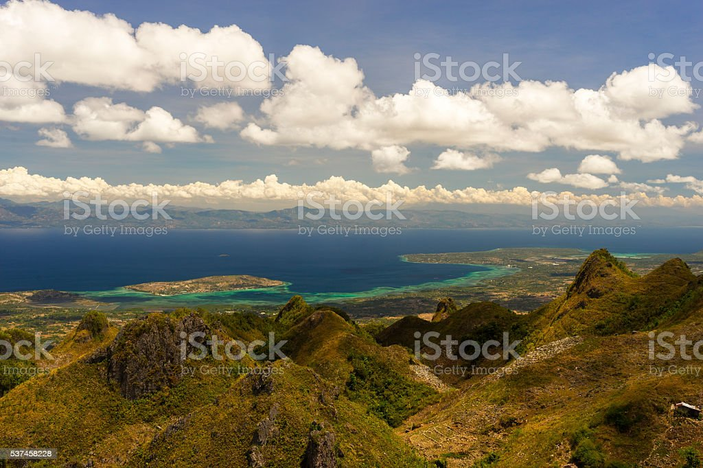 View from mountains to the tropical sea stock photo