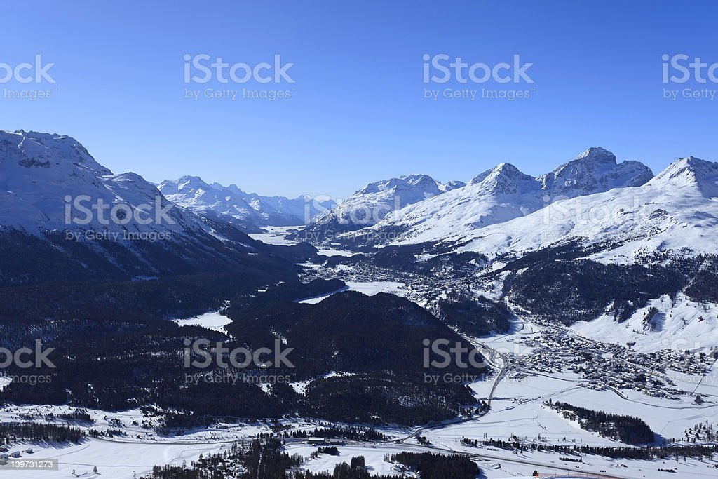 View from Mouttas Muragl - Engadin royalty-free stock photo