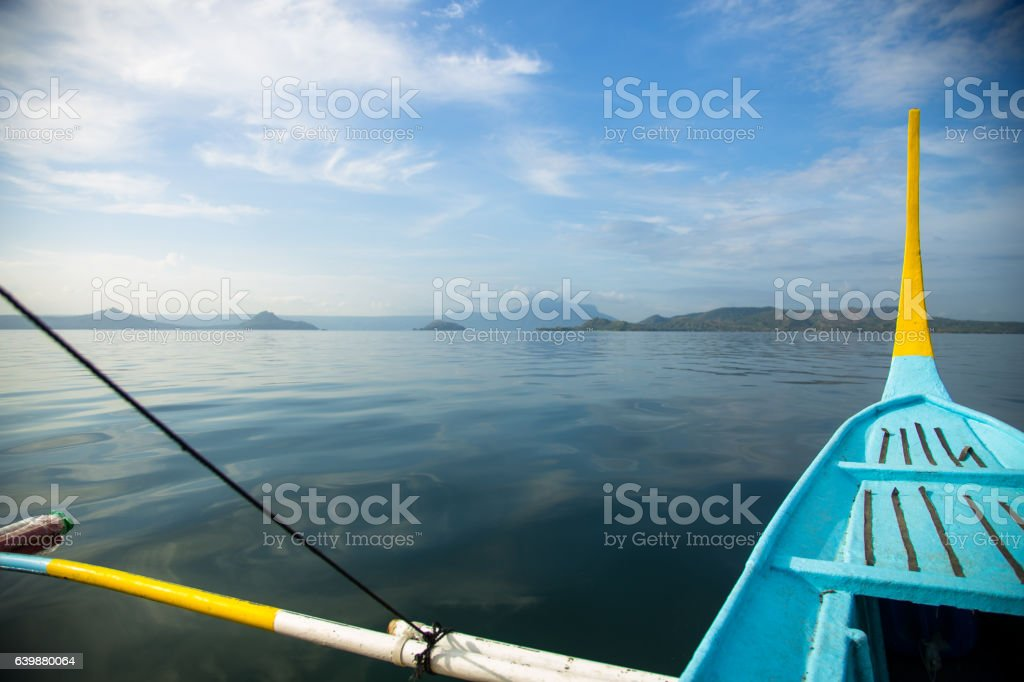 View from Moving Boat on Lake Taal, The Philippines stock photo