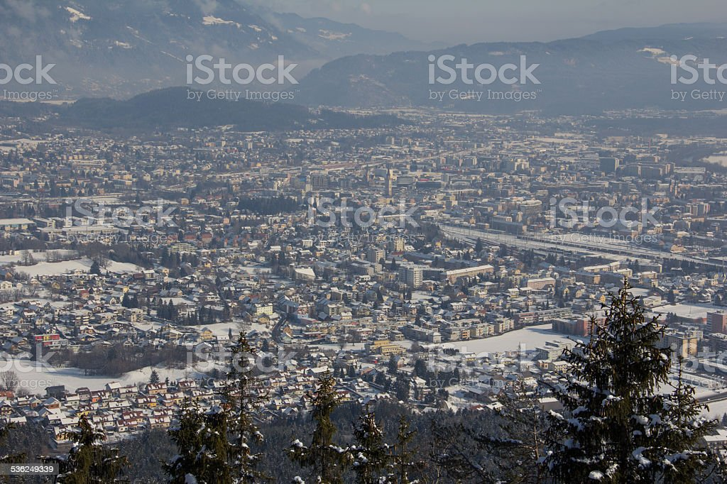 View From Mt. Dobratsch To Villach In Winter stock photo